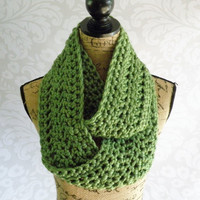 Ready To Ship Infinity Scarf Crochet Knit Green Women's Accessories Eternity Fall Winter