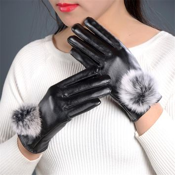 DoreenBow New Fashion PU Leather Women Gloves Fashion Elegant Lady High Quality Pom Pom Gloves Solid Red Black Brown 1Pair