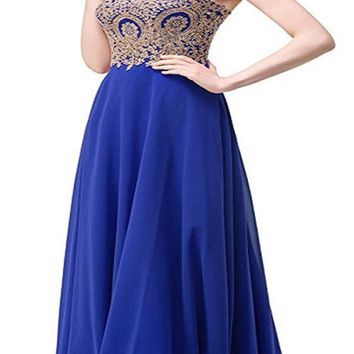 Blue Patchwork Bandeau Off Shoulder Draped Elegant Prom Evening Party Maxi Dress
