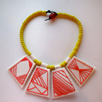 Geometric necklace embroidered hot pink pendants with bright yellow Native American trade beads