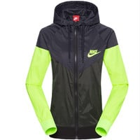 """NIKE"" Letter Print Hooded Zipper Cardigan Sweatshirt Jacket Coat Windbreaker Sportswear"