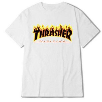 """Thrasher""Fashion loose leisure extreme sports skateboard brand T-shirt White"