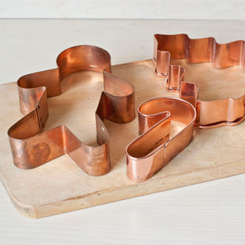 Solid Copper Christmas Cookie Cutters, Gingerbread Man Candy Cane Tree, Holiday Baking