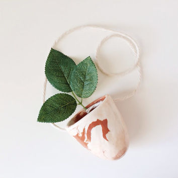 Marbled Hanging Planter - Succulent Planter - Hanging Vase - Marbled Ceramics - Ceramics and Pottery
