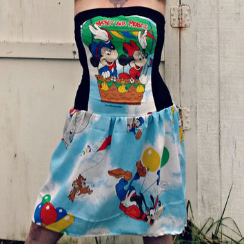Disneyland dress with vintage fabric your size Mickey and Minnie Mouse