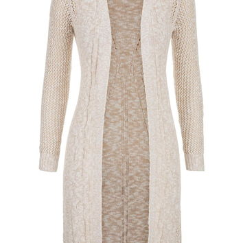 duster with open stitching and cable knit