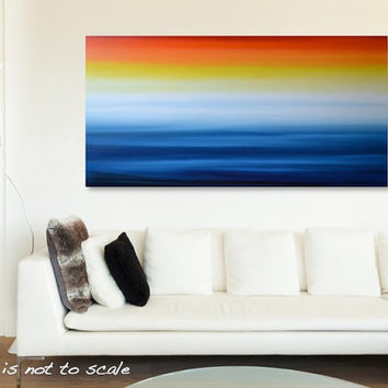 "ON SALE HUGE 48"" Abstract Seascape Ocean Beach Painting - Acrylic Canvas Art - Blue, Yellow, Orange, Red - 48 x 24: Winter Sunrise - Free Sh"