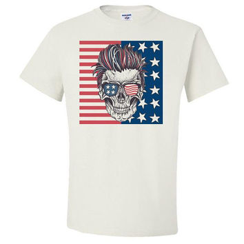 US Skull Adult Unisex T-Shirt ,Custom Shirts, Personalized Shirts, Clothing, Women's Shirts, Men's Shirts, American Shirt, USA, US Flag