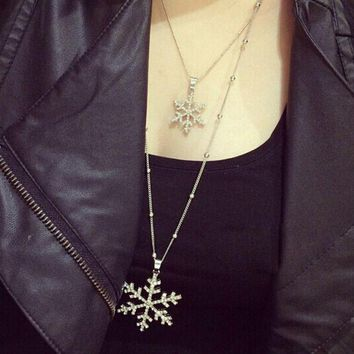 retro snowflake long necklace gift box jewelry 54  number 1