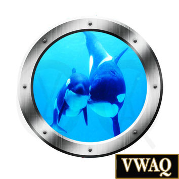 Killer Whales Ocean View 3D Window Porthole Peel and Stick Wall Decal Underwater Mural VWAQ® PO20