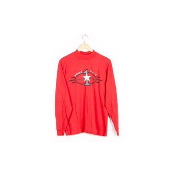90s BUGLE BOY deadstock shirt / vintage 1990s / new nwt / normcore / basic / red / long sleeve / basic / athletic / mens small