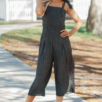 Striped Tie Tank Jumpsuit Black
