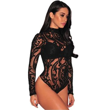 Black Sheer Mesh Print Turtleneck Sexy Latex Lingerie