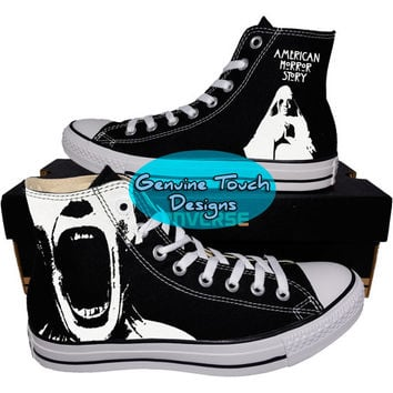 Custom Converse, AHS, American Horror Story, Fanart shoes, Custom Chucks, painted shoes, personalized converse hi tops