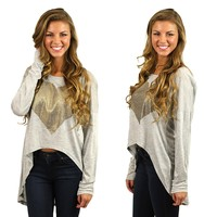 Hugs & Kisses Top in Grey