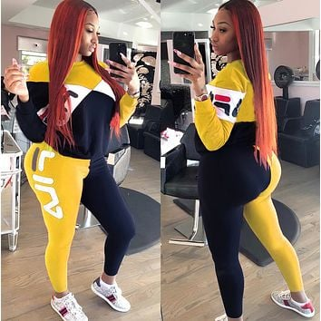 FILA Popular Women Casual Print Top Pants Trousers Set Two-Piece Sportswear yellow