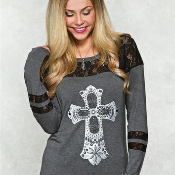 Cross Lace Graphic Top