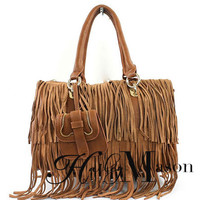 Fringe Leather Satchel - HaileyMason, LLC Store