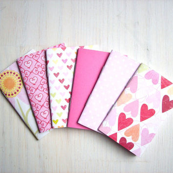 Romantic Notebooks: Wedding Favors, Bridal Shower, Party Favors, 6 Tiny Journals Set, Hearts, Love, Mom, Jotters, Bright, Mini Journals