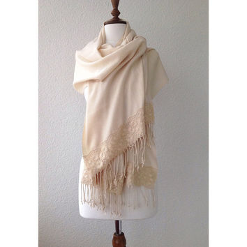 wedding shawl, bridal shrug, cream shawl