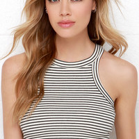 Rows Goes Cream and Washed Black Striped Crop Top