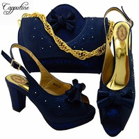 Capputine Fashion Italian Shoes With Matching Bag Set High Quality African Shoes And Bag Set For Wedding And Party MM1047