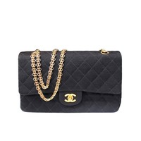 Chanel Timeless Medium Black Jersey Double Flap Bag
