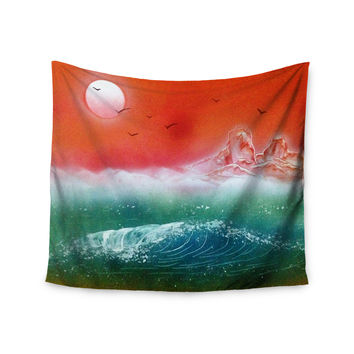 "Infinite Spray Art ""Dream Seascape"" Teal Red Wall Tapestry"