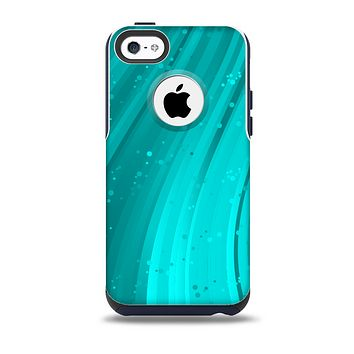 The Glowing Teal Abstract Waves Skin for the iPhone 5c OtterBox Commuter Case