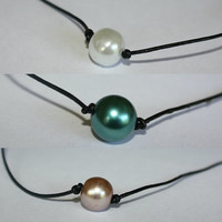 Single Pearl Necklace- Black Leather Cord Adjustable/Pearl Clasp Necklace