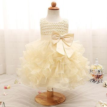 Wedding Newborn Infant Baby Girls Dress bebe for 1 year birthday Party fluffy Girl Clothes Princess Baptism Dress Kids Clothing