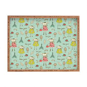 Heather Dutton Bonjour Lapin Rectangular Tray
