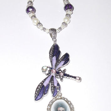 Wedding Bouquet Memorial Photo Charm Dragonfly Deep Purple Crystals Pearls Tibetan Beads - FREE SHIPPING