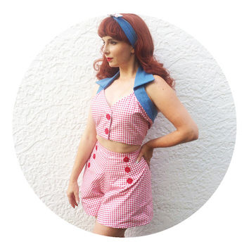 Pin-Up Red Gingham 1950's Crop Top with Denim Collar