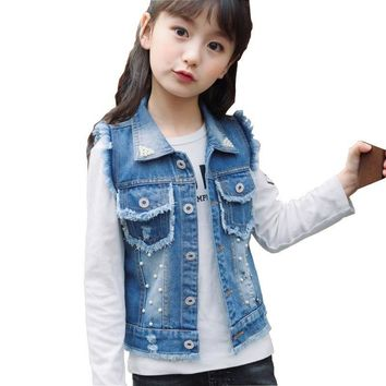 Trendy Kids Clothes for Girls Spring Autumn Denim Vest Jackets Coat Pearl Sleeveless Toddler Girl Vest Outerwear Coat DQ969 AT_94_13