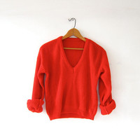 Vintage cropped sweater. Loose knit sweater. Red vneck sweater.
