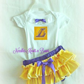 Girls Los Angeles Lakers Basketball Outfit, Baby Girls Lakers Coming Home Outfit, Game Day, Baby Shower Gift