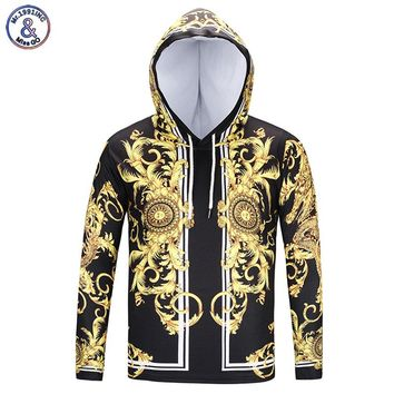 Mr.1991INC New Fashion Brand T-shirt Men/Women Hooded Tshirt Print Golden Flowers Long Sleeve T shirt With Hat
