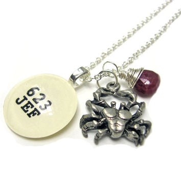 Ruby Cancer Crab July Birthday Sterling Wrapped Dewey Decimal Vintage Card Catalog Luxe Necklace