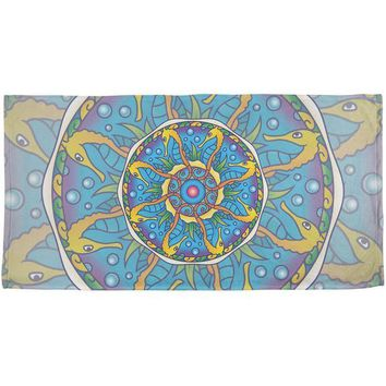 DCCKJY1 Mandala Trippy Stained Glass Seahorse All Over Beach Towel