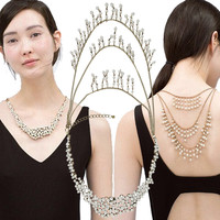 Jewelry Bib Collar Luxury Choker Double Side Pearl Tassel Necklace