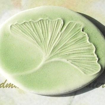 GINKGO LEAF handmade ceramic lapel pin ceramic watercolor small gift under 15 mint green oval by Faith Ann Originals on Etsy