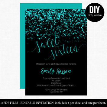 Aqua blue sweet 16 invitations -  Sweet Sixteen Glitter Invites - Teal Blue Sweet 16 Birthday  Invitation  - Blue Sparkle 16th #DPI1254