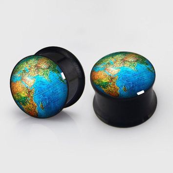 Art World Map 2 pieces plugs plug gauges steel flesh