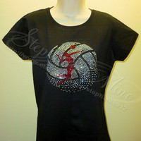 Ladies Volleyball Rhinestone T-shirt  (3 styles to choose from)