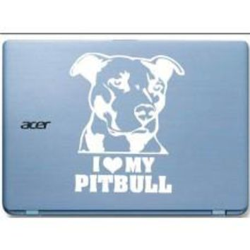 I Love My Pitbull Dog Car Window Vinyl Decal Tablet PC Sticker
