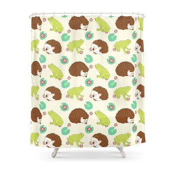 Society6 Hedgehog And Frog Shower Curtains