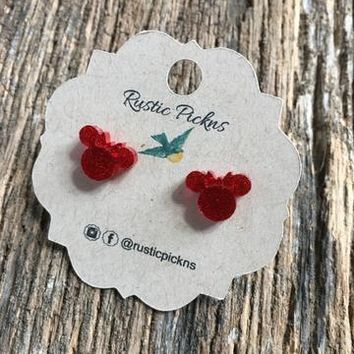 Red Minnie Studs