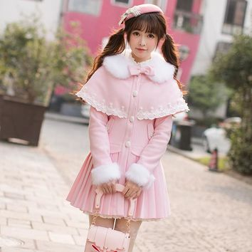 Candy rain Princess sweet lolita coat Sweet  line single breasted long sleeved loose wool tweed coat girls long C22CD7264