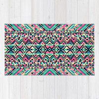 Pink Turquoise Girly Aztec Andes Tribal Pattern Area & Throw Rug by Railton Road